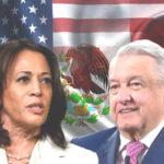 La vicepresidenta Kamala Harris y el presidente Andrés Manuel López Obrador.